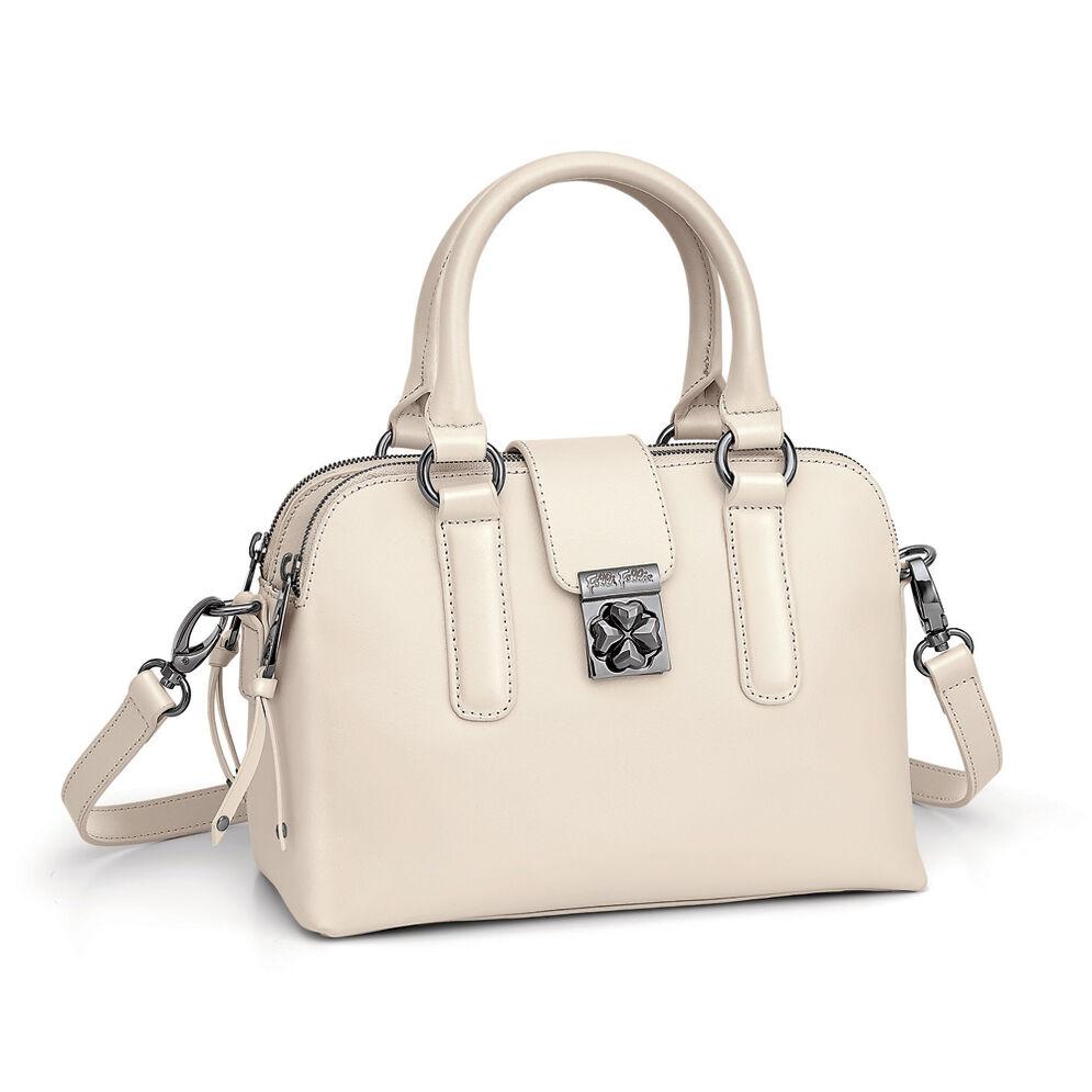 Heart4Heart Split Detachable Long Strap Leather Handbag, Beige, hires