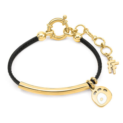 FF Talisman Yellow Gold Plated With Synthetic Cord Bracelet, , hires