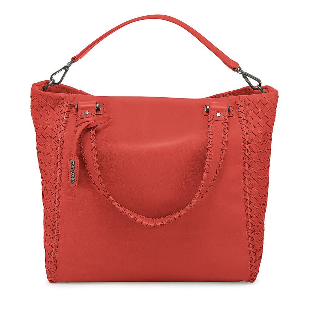 Twist Together Large Braided Trim Leather Handbag, Orange, hires