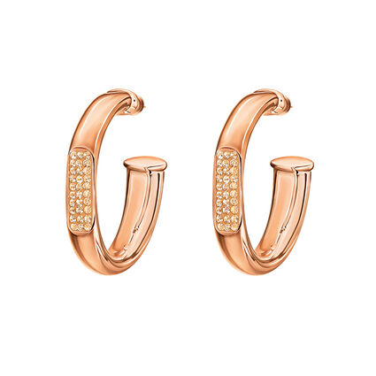 Awe Rose Gold Plated Large Hoop Earrings, , hires