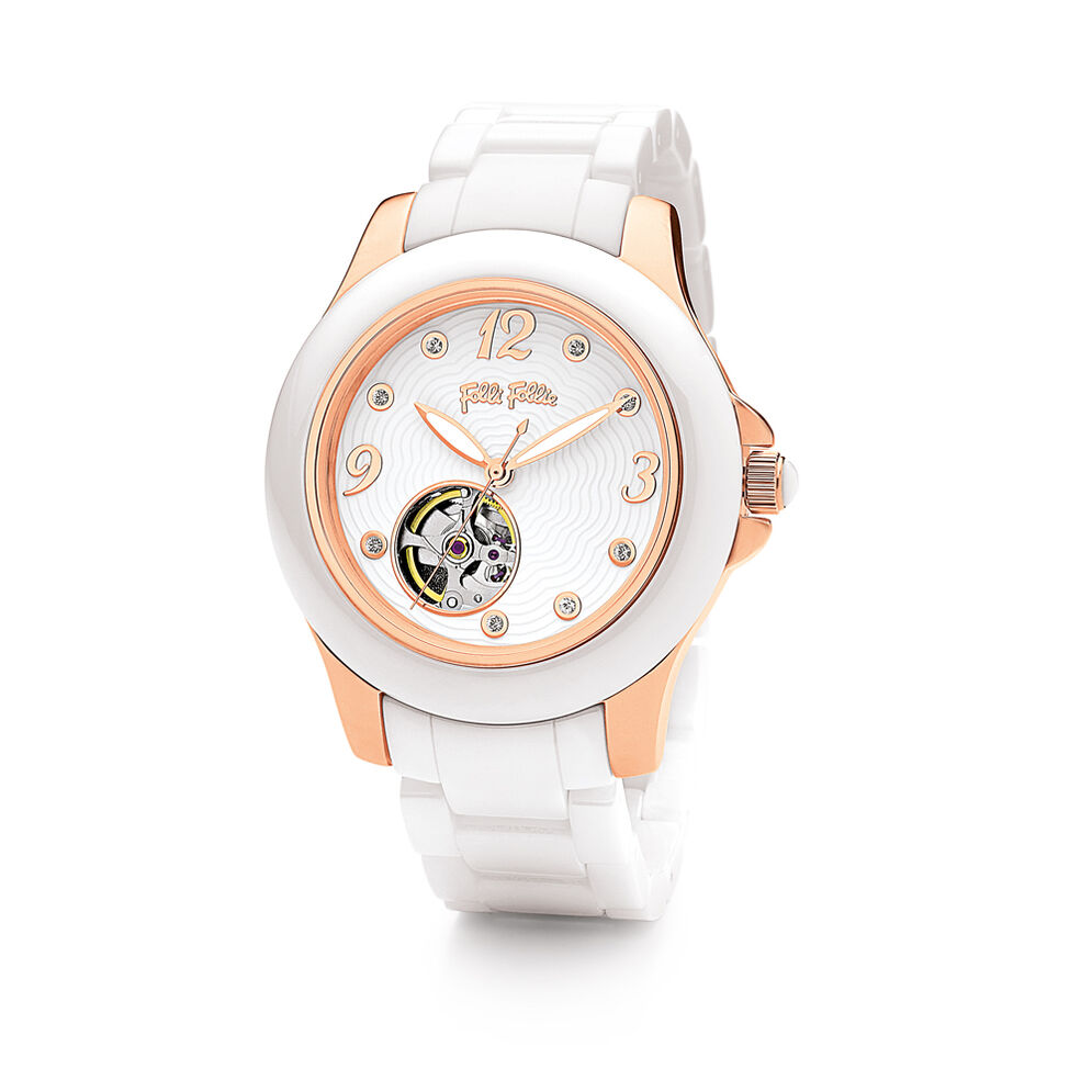 Crystal 8 Ceramic Watch, Bracelet White, hires