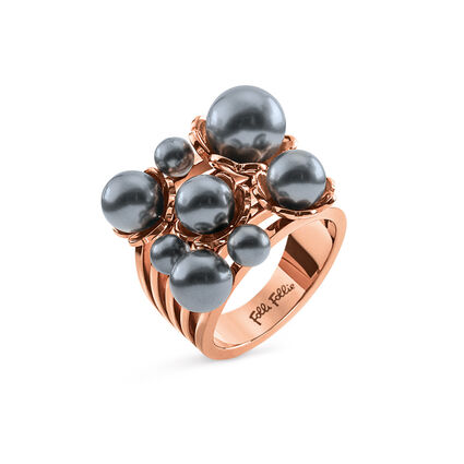 Grace Flair Rose Gold Plated Wide Dark Gray Pearl Ring, , hires