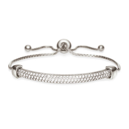 Fashionably Silver Essentials Rhodium Plated Adjustable Bracelet, , hires