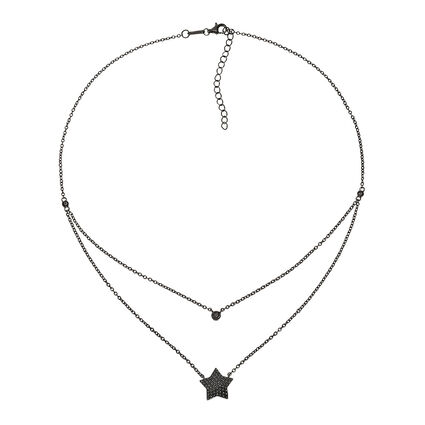 Fashionably Silver Stories Black Rhodium Plated Short Necklace, , hires