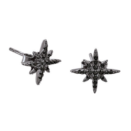 Fashionably Silver Stories Black Rhodium Plated Stud Earrings, , hires