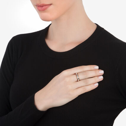 Classy Rose Gold Plated Square Clear Crystal Stone Slim Band Ring, , hires