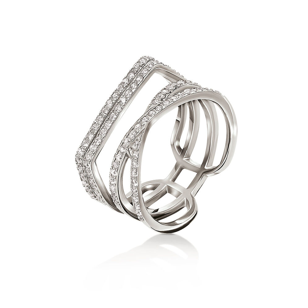 Fashionably Silver Essentials Rhodium Plated Stone Ring, , hires
