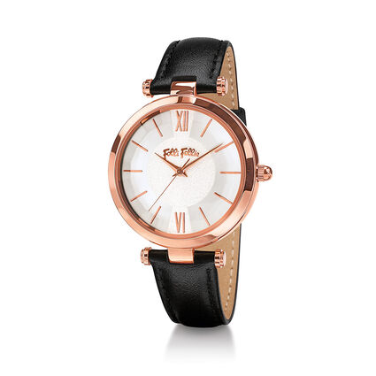 Lady Bubble Rose Gold Plated Leather Watch , Black, hires