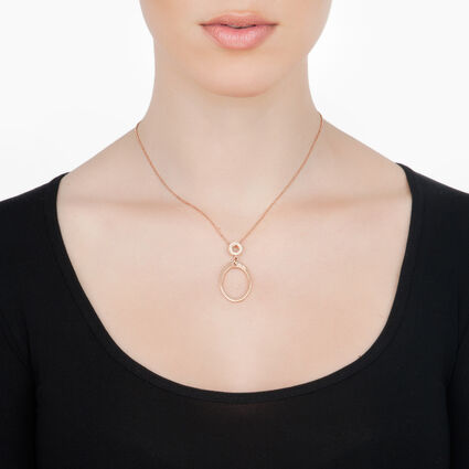 Classy Rose Gold Plated Fully Champaign Crystal Stone Small Motif Neckalce, , hires