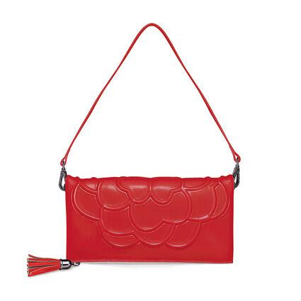 Santorini Flower Detachable Shoulder Strap Leather Evening Bag, Red, hires
