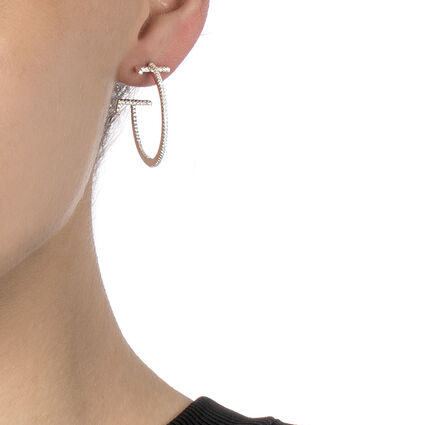 My FF Rhodium Plated Small Hoop Earrings, , hires