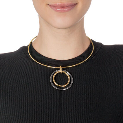 Metal Chic Yellow Gold Plated Collar Κολιέ, , hires