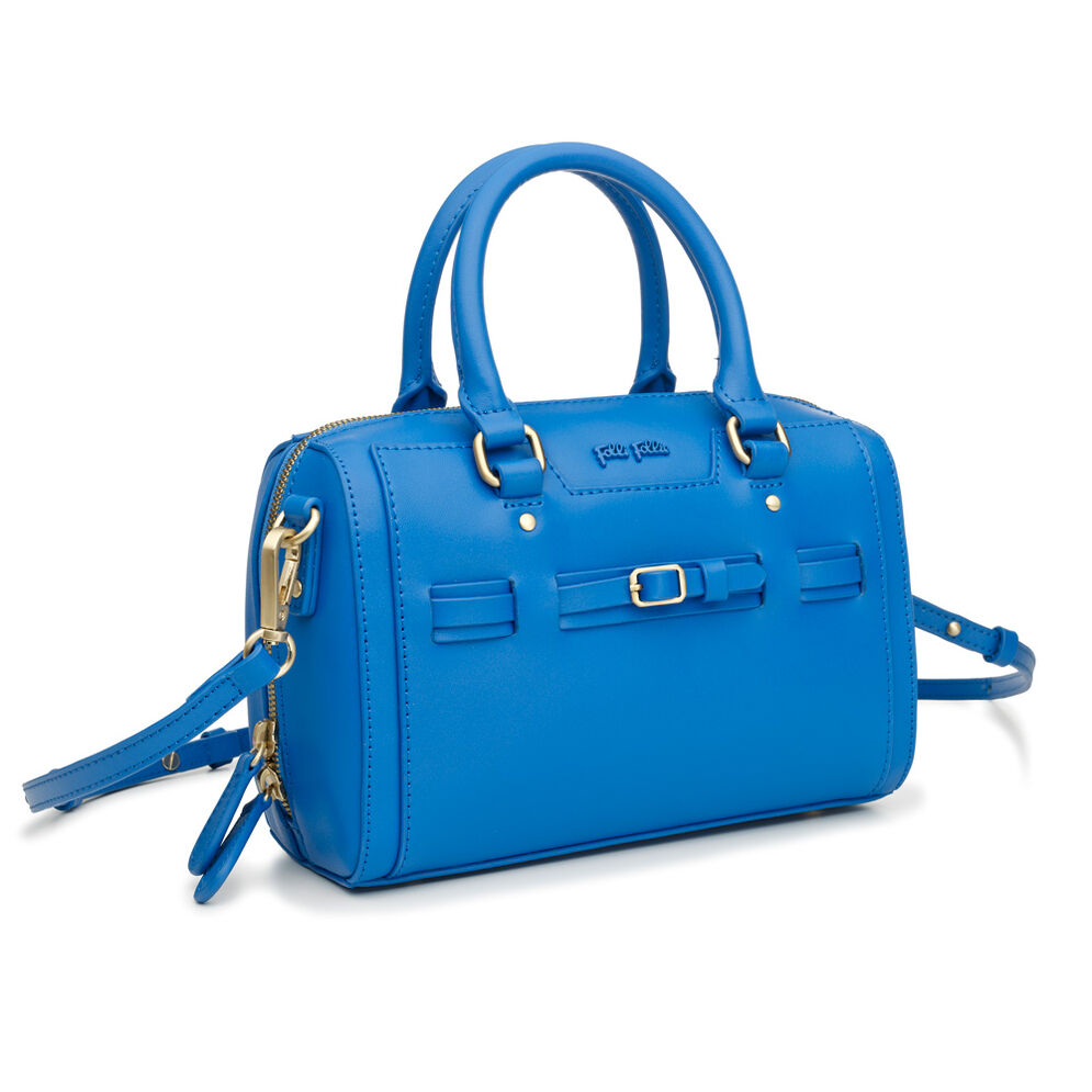 Strappy Style Detachable Long Strap Leather Handbag, Blue, hires