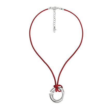 Awe Silver Plated Clear Crystal Stone Red Cord Short Necklace, , hires