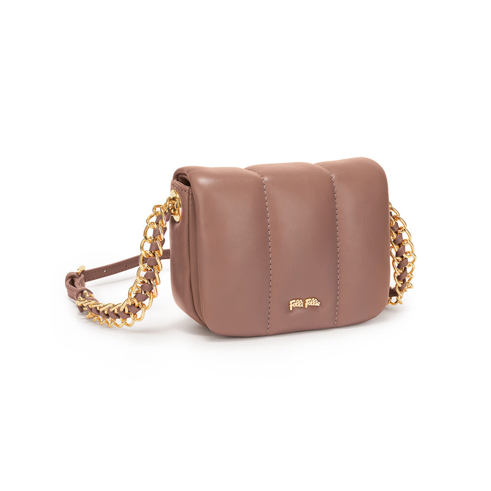 Lady Bubble Chain Strap Crossbody Bag, Brown, hires