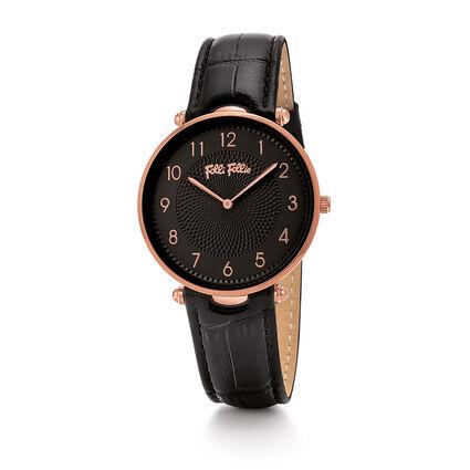 Lady Club Big Case Leather Watch, Black, hires