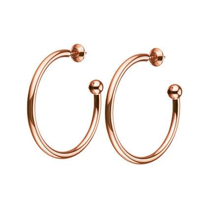 Playful Emotions Rose Gold Plated Medium Hoop Earrings , , hires