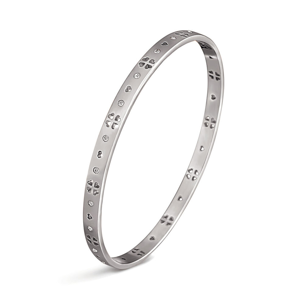 Love and Fortune Silver Plated Μικρή Διάμετρος Σταθερό Βραχιόλι, , hires