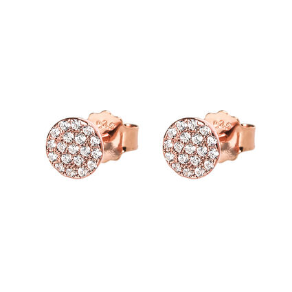 Fashionably Silver Luck Rose Gold Plated Κοντά Σκουλαρίκια, , hires