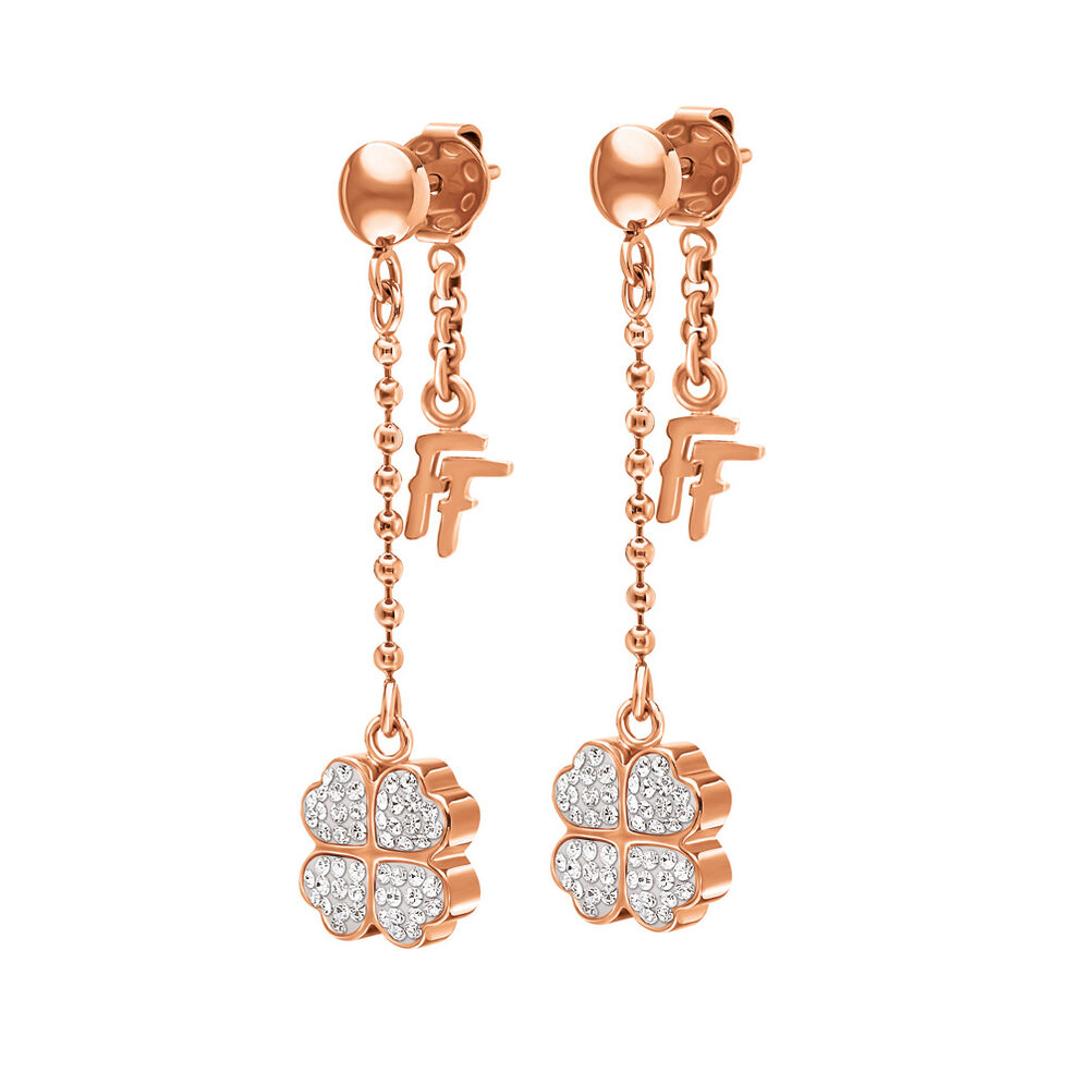Heart4Heart Rose Gold Plated Pave Κρυστάλλινες Πέτρες Μακριά Σκουλαρίκια, , hires