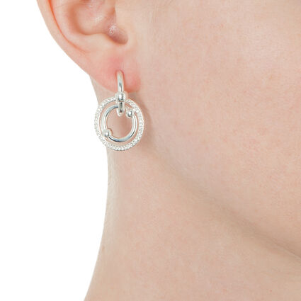 Bonds Silver Plated Short Stone Earrings, , hires