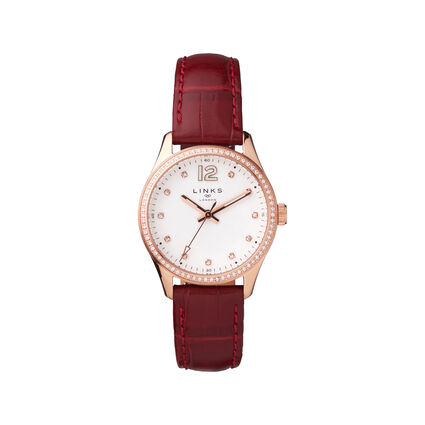 Greenwich Noon Womens Rose Gold Tone & Red Leather Strap Watch, , hires