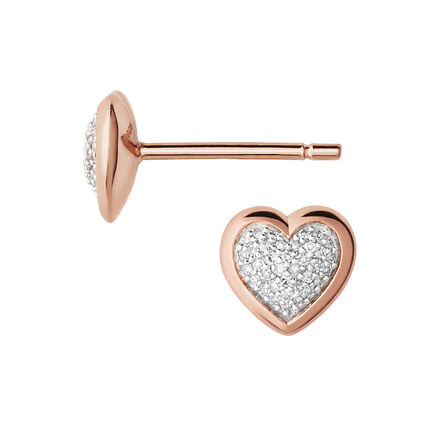 Diamond Essentials 18kt Rose Gold Vermeil & Pave Heart Stud Earrings, , hires