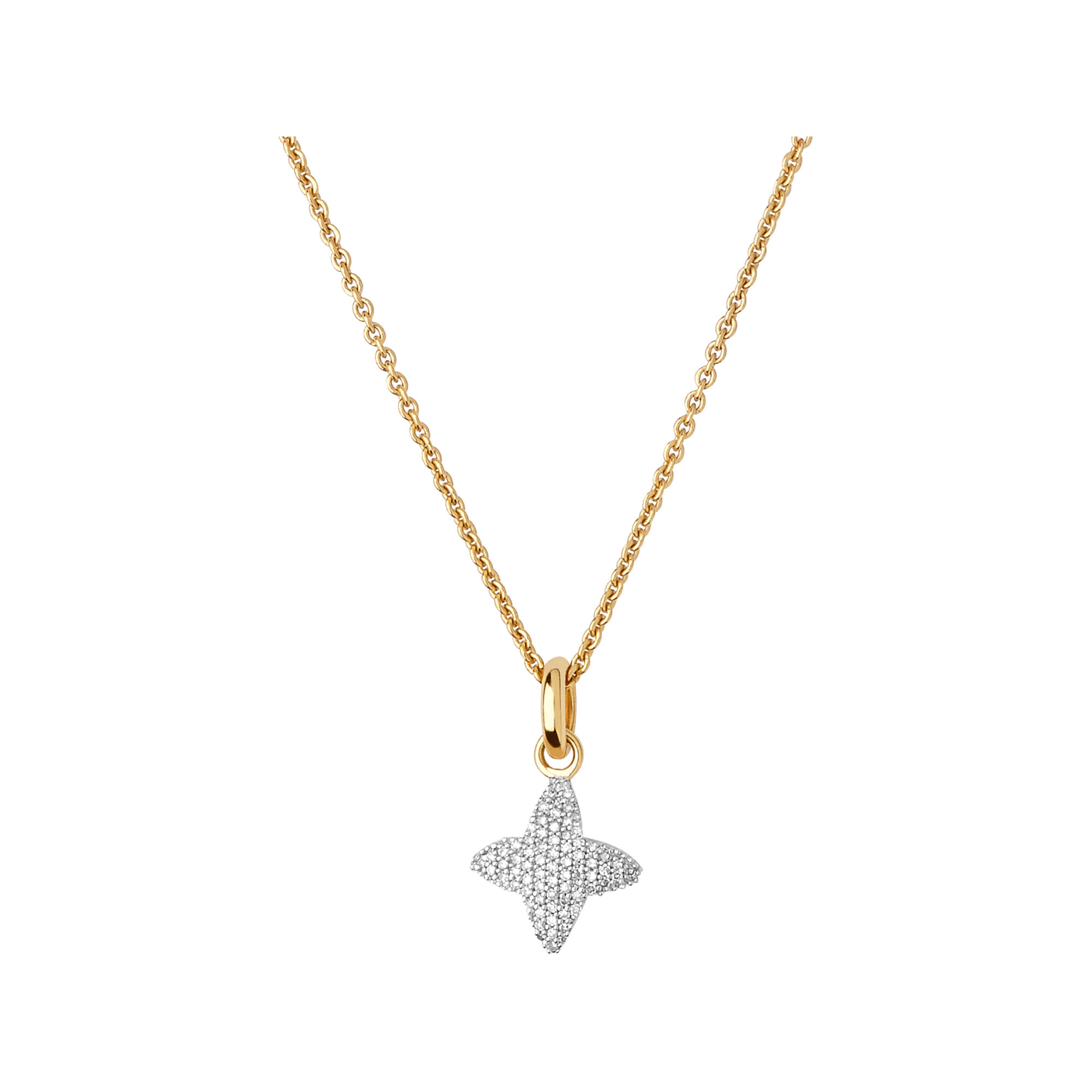 Splendour 18kt Yellow Gold Vermeil Diamond Four Point Star Necklace