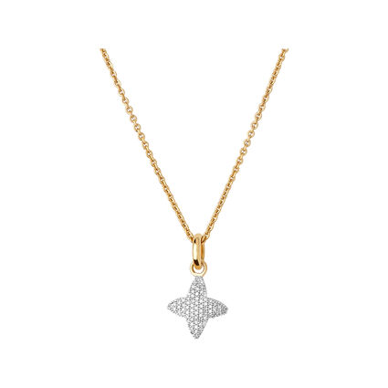 Splendour 18kt Yellow Gold Vermeil & Diamond Four-Point Star Necklace, , hires
