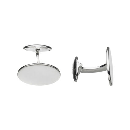 Sterling Silver Classic Oval Cufflinks, , hires