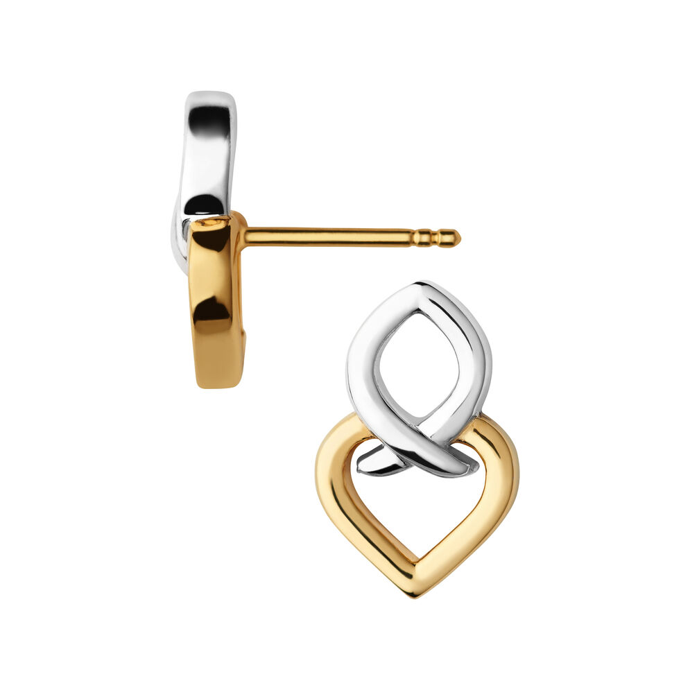 Infinite Love Sterling Silver & 18kt Yellow Gold Vermeil Earrings, , hires