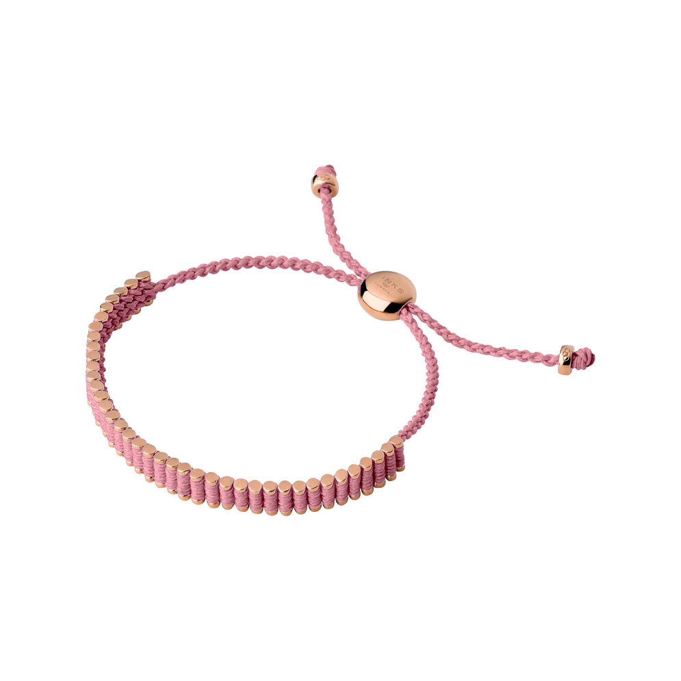 18kt Rose Gold & Pink Mini Links of London Friendship Bracelet , , hires