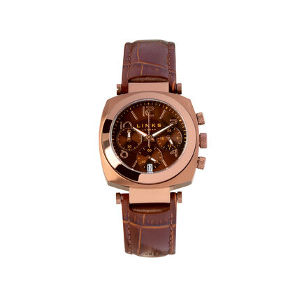 Brompton Womens Brown Stainless Steel & Brown Dial Leather Chronograph Watch, , hires
