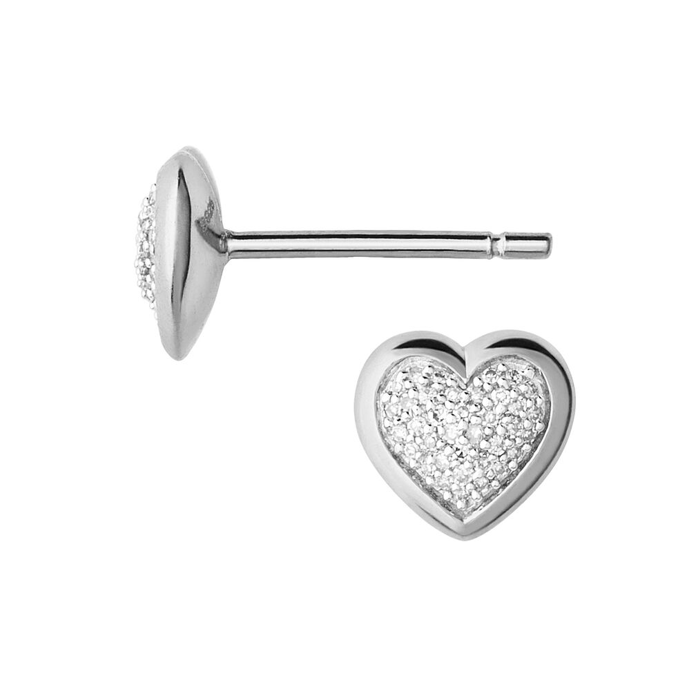 Diamond Essentials Sterling Silver & Pave Heart Stud Earrings, , hires