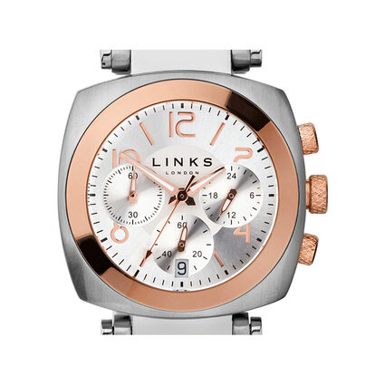 Brompton Stainless Steel & Rose Gold Plated Silver Dial Chronograph Watch, , hires