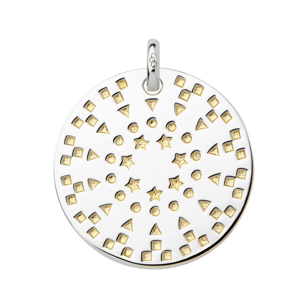 Ascot Narrative Sterling Silver & 18kt Yellow Gold Vermeil Large Pendant, , hires