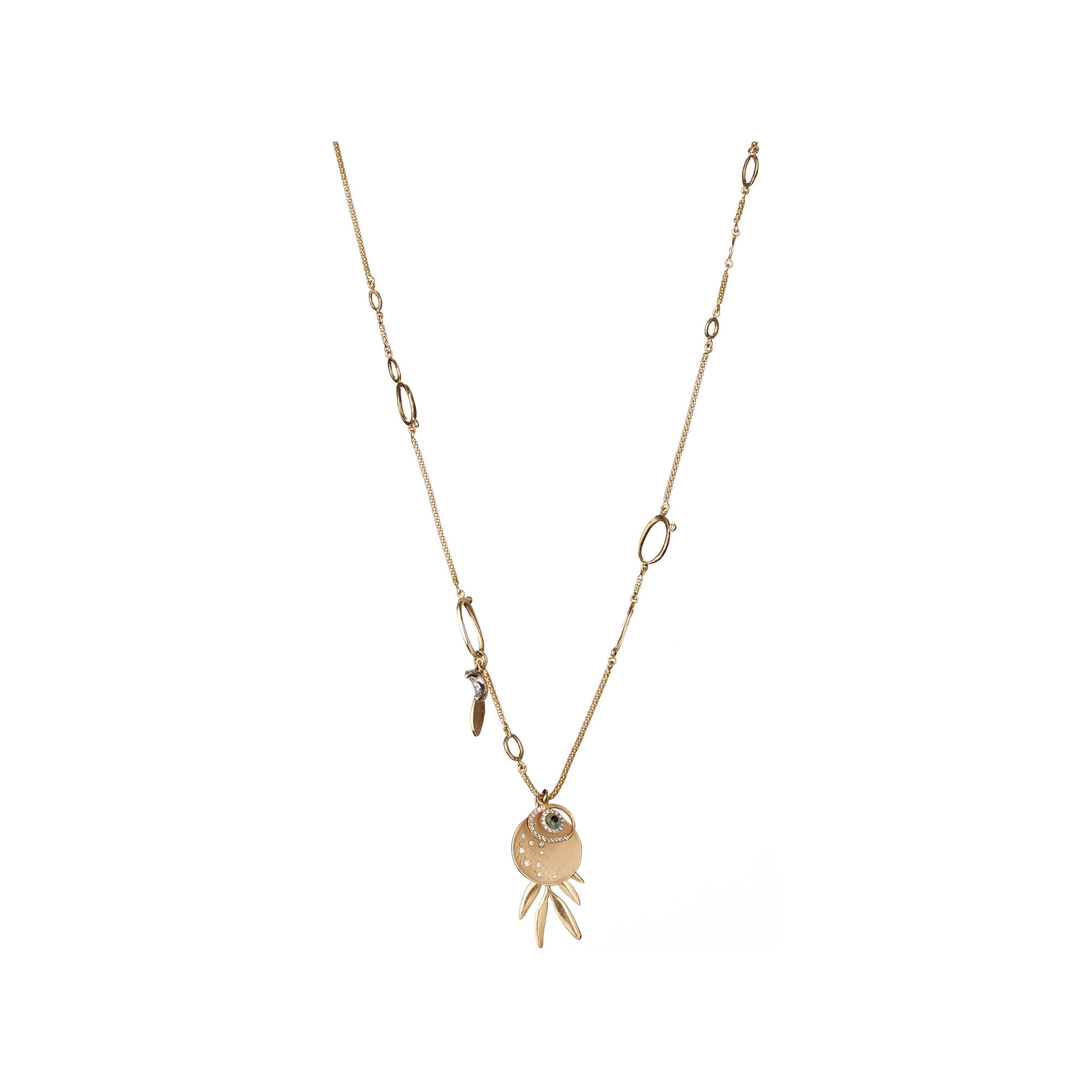 tree in of symbolic necklace gold life white