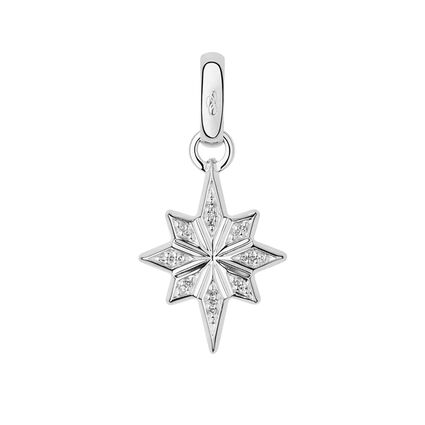 Sterling Silver & Diamond Pave Christmas Star Charm, , hires