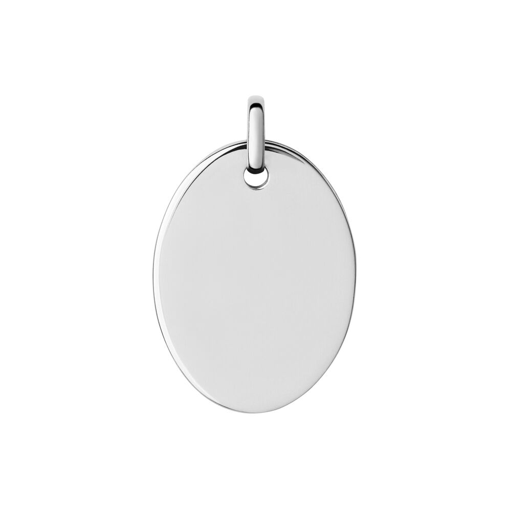 Narrative Sterling Silver Large Oval Disc Pendant, , hires