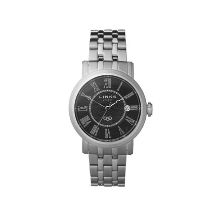 Richmond Mens Stainless Steel Black Dial Bracelet Watch, , hires