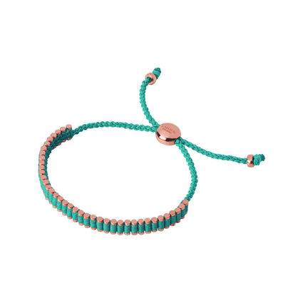 18K Rose Gold Vermeil & Turquoise Cord Mini Friendship Bracelet, , hires