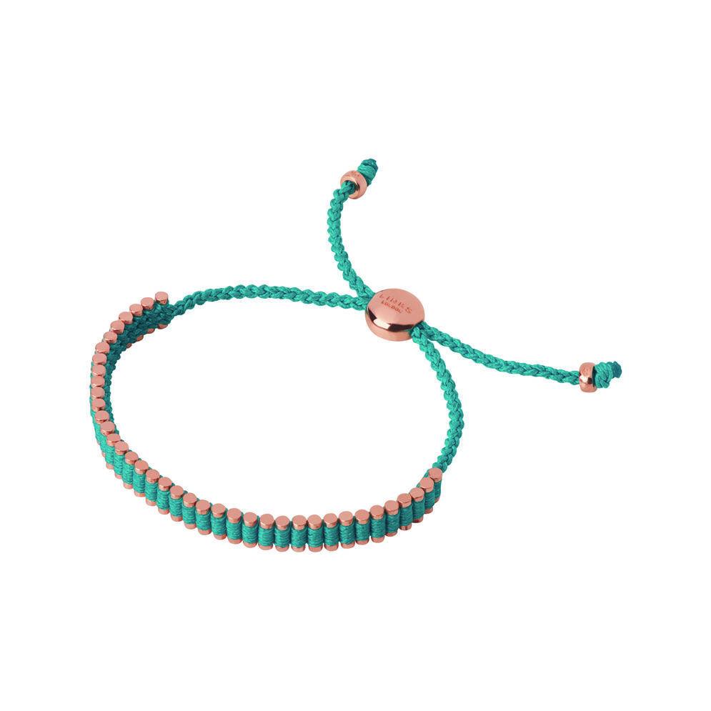 18kt Rose Gold Vermeil & Turquoise Cord Mini Friendship Bracelet, , hires