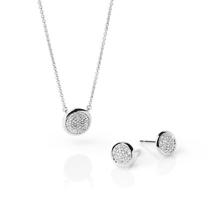 Diamond Essentials Sterling Silver & Pave Stud Earrings and Necklace Set, , hires