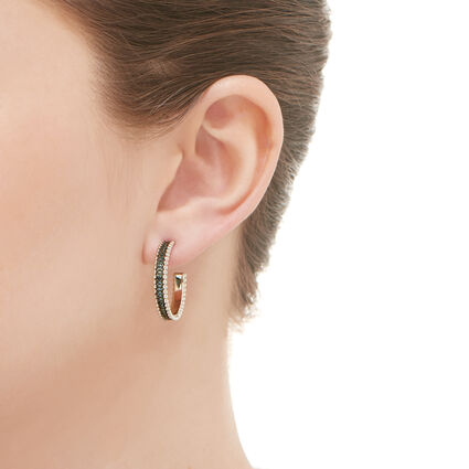 Effervescence Sterling Silver & Blue Diamond Hoop Earrings, , hires