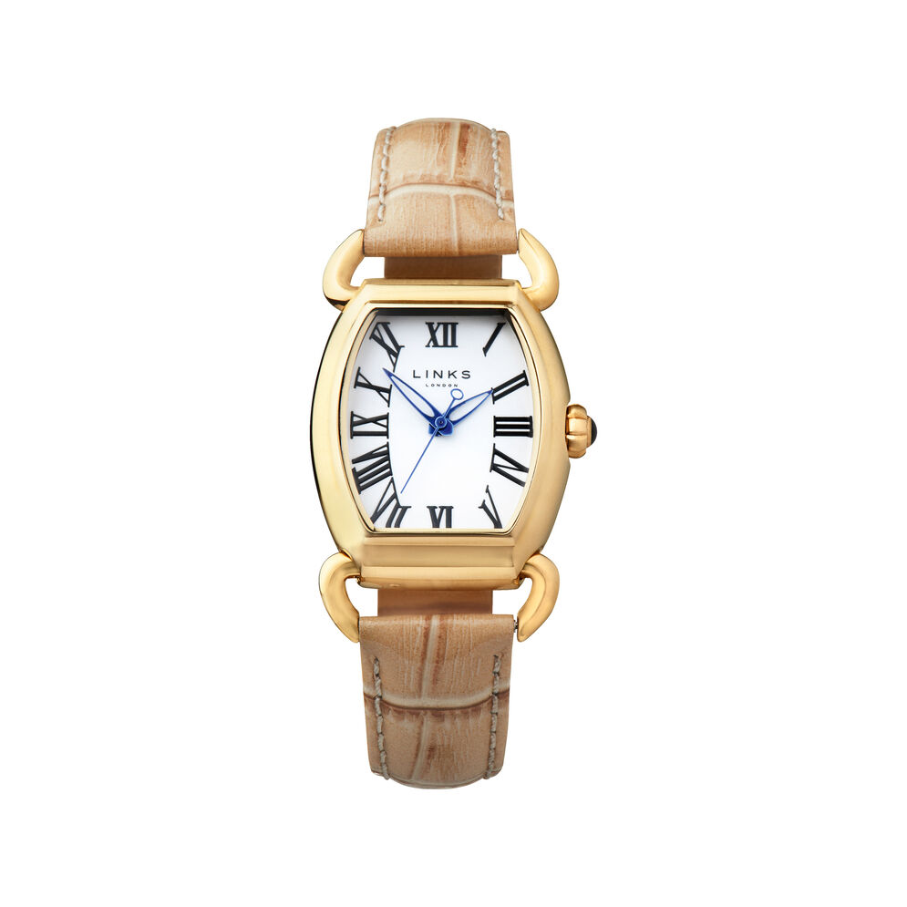 Driver Elipse Womens Yellow Gold Plate Tan Leather Watch, , hires