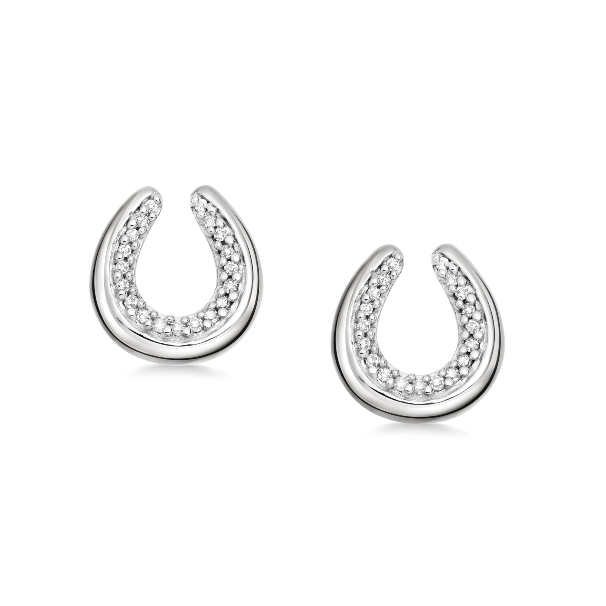 Ascot Diamond Essentials Sterling Silver Horseshoe Earrings Hires
