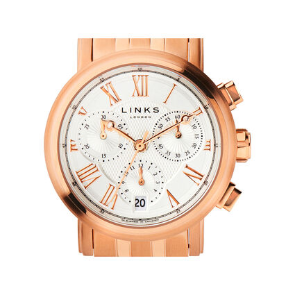 Richmond Womens Rose Gold Plated Bracelet Chronograph Watch, , hires