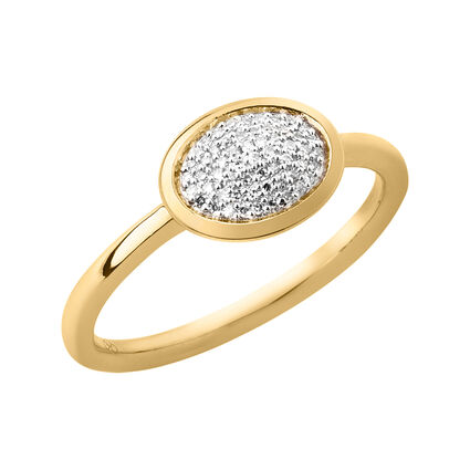 Diamond Essentials 18kt Yellow Gold Vermeil & Pave Oval Ring, , hires