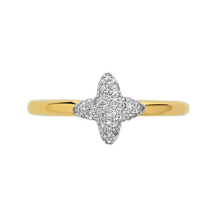 Splendour 18kt Yellow Gold Vermeil & Diamond Four-Point Star Mini Ring, , hires