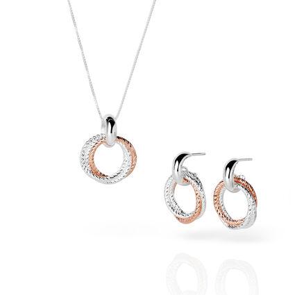 Aurora Bi-Metal Cluster Necklace & Earring Set, , hires